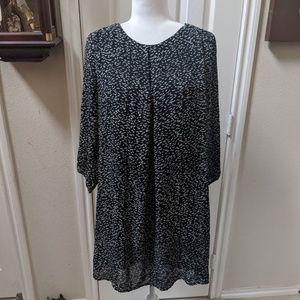 H&M Black & White 3/4 Sleeve Flowy Shift Dress 12